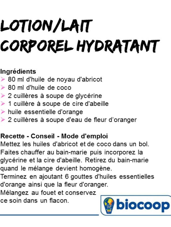 Recette Bio De Lotion Lait Corporel Hydratant